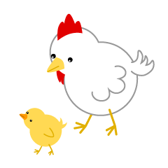 Parent and child of chicken and chick