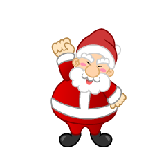 Santa character giving up spirit