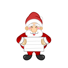 Santa Character with a board