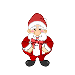 Santa Character with a present