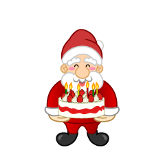 Santa Character with a cake
