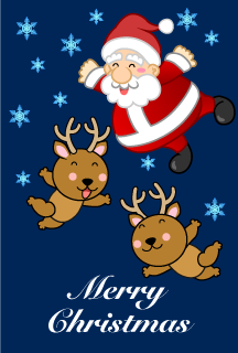 Christmas card of Santa and the reindeer dancing in the air