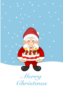 Santa's Christmas card for giving Christmas cake