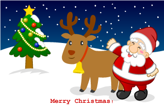 Reindeer and Santa's Christmas card