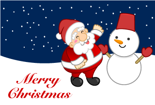 Snowman and Santa's Christmas card
