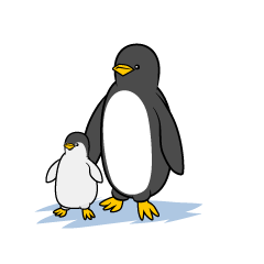 Parent and child penguins