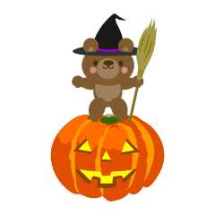 Halloween pumpkin and bear