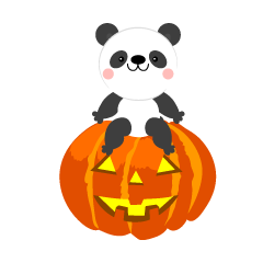 Panda and Halloween pumpkin