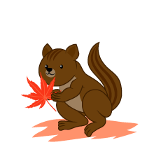 Squirrel and autumn leaves